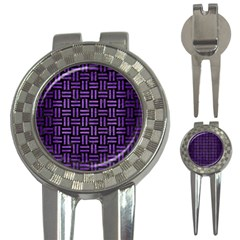 Woven1 Black Marble & Purple Brushed Metal (r) 3 In 1 Golf Divots by trendistuff