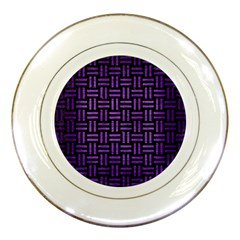 Woven1 Black Marble & Purple Brushed Metal (r) Porcelain Plates by trendistuff