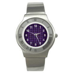 Woven1 Black Marble & Purple Brushed Metal (r) Stainless Steel Watch by trendistuff
