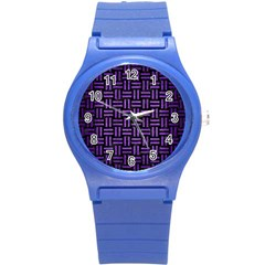 Woven1 Black Marble & Purple Brushed Metal (r) Round Plastic Sport Watch (s) by trendistuff
