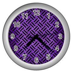 Woven2 Black Marble & Purple Brushed Metalwoven2 Black Marble & Purple Brushed Metal Wall Clocks (silver)  by trendistuff