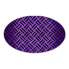 Woven2 Black Marble & Purple Brushed Metalwoven2 Black Marble & Purple Brushed Metal Oval Magnet by trendistuff