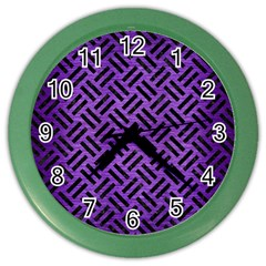 Woven2 Black Marble & Purple Brushed Metalwoven2 Black Marble & Purple Brushed Metal Color Wall Clocks by trendistuff