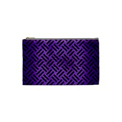 Woven2 Black Marble & Purple Brushed Metalwoven2 Black Marble & Purple Brushed Metal Cosmetic Bag (small)  by trendistuff