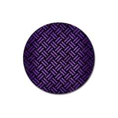 Woven2 Black Marble & Purple Brushed Metal (r) Magnet 3  (round) by trendistuff