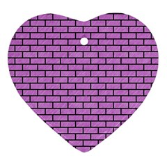 Brick1 Black Marble & Purple Colored Pencil Ornament (heart) by trendistuff