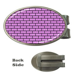 Brick1 Black Marble & Purple Colored Pencil Money Clips (oval)  by trendistuff