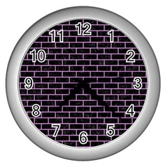 Brick1 Black Marble & Purple Colored Pencil (r) Wall Clocks (silver)  by trendistuff