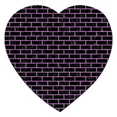 Brick1 Black Marble & Purple Colored Pencil (r) Jigsaw Puzzle (heart) by trendistuff