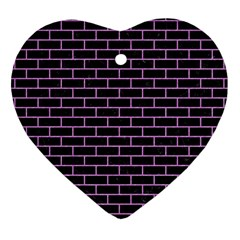 Brick1 Black Marble & Purple Colored Pencil (r) Heart Ornament (two Sides) by trendistuff