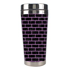 Brick1 Black Marble & Purple Colored Pencil (r) Stainless Steel Travel Tumblers by trendistuff
