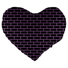 Brick1 Black Marble & Purple Colored Pencil (r) Large 19  Premium Flano Heart Shape Cushions by trendistuff