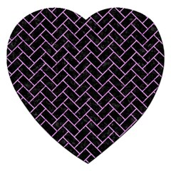 Brick2 Black Marble & Purple Colored Pencil (r) Jigsaw Puzzle (heart) by trendistuff