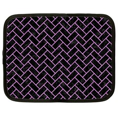 Brick2 Black Marble & Purple Colored Pencil (r) Netbook Case (large)