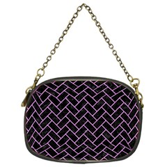 Brick2 Black Marble & Purple Colored Pencil (r) Chain Purses (one Side)  by trendistuff