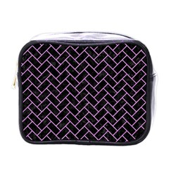 Brick2 Black Marble & Purple Colored Pencil (r) Mini Toiletries Bags by trendistuff