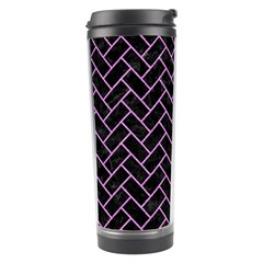Brick2 Black Marble & Purple Colored Pencil (r) Travel Tumbler by trendistuff