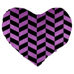 Chevron1 Black Marble & Purple Colored Pencil Large 19  Premium Flano Heart Shape Cushions by trendistuff
