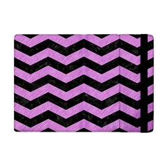 Chevron3 Black Marble & Purple Colored Pencil Apple Ipad Mini Flip Case by trendistuff