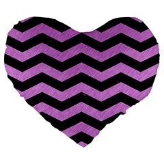 Chevron3 Black Marble & Purple Colored Pencil Large 19  Premium Flano Heart Shape Cushions by trendistuff
