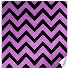 Chevron9 Black Marble & Purple Colored Pencil Canvas 16  X 16   by trendistuff