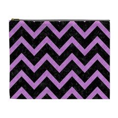 Chevron9 Black Marble & Purple Colored Pencil (r) Cosmetic Bag (xl) by trendistuff