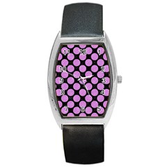 Circles2 Black Marble & Purple Colored Pencil (r) Barrel Style Metal Watch by trendistuff