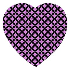 Circles3 Black Marble & Purple Colored Pencil Jigsaw Puzzle (heart) by trendistuff