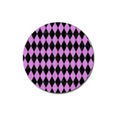 Diamond1 Black Marble & Purple Colored Pencil Magnet 3  (round) by trendistuff