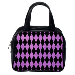Diamond1 Black Marble & Purple Colored Pencil Classic Handbags (one Side) by trendistuff