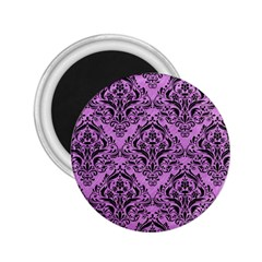Damask1 Black Marble & Purple Colored Pencil 2 25  Magnets by trendistuff