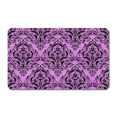 Damask1 Black Marble & Purple Colored Pencil Magnet (rectangular) by trendistuff