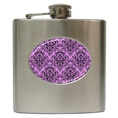 Damask1 Black Marble & Purple Colored Pencil Hip Flask (6 Oz) by trendistuff