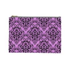 Damask1 Black Marble & Purple Colored Pencil Cosmetic Bag (large)  by trendistuff