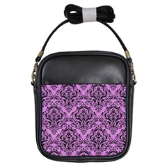 Damask1 Black Marble & Purple Colored Pencil Girls Sling Bags by trendistuff