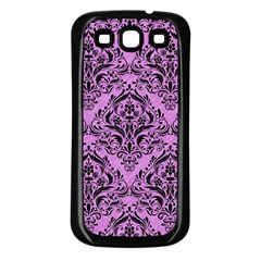 Damask1 Black Marble & Purple Colored Pencil Samsung Galaxy S3 Back Case (black) by trendistuff