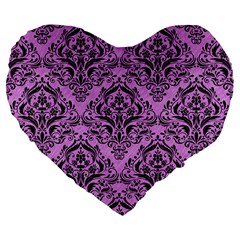 Damask1 Black Marble & Purple Colored Pencil Large 19  Premium Flano Heart Shape Cushions by trendistuff