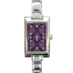 Damask1 Black Marble & Purple Colored Pencil (r) Rectangle Italian Charm Watch by trendistuff