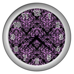Damask1 Black Marble & Purple Colored Pencil (r) Wall Clocks (silver)  by trendistuff