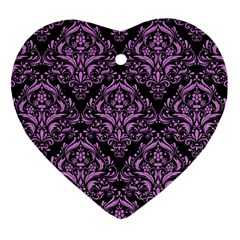 Damask1 Black Marble & Purple Colored Pencil (r) Heart Ornament (two Sides) by trendistuff
