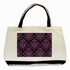 Damask1 Black Marble & Purple Colored Pencil (r) Basic Tote Bag (two Sides) by trendistuff
