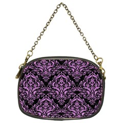 Damask1 Black Marble & Purple Colored Pencil (r) Chain Purses (one Side)  by trendistuff