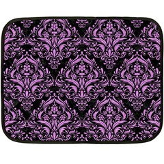 Damask1 Black Marble & Purple Colored Pencil (r) Fleece Blanket (mini) by trendistuff