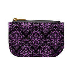 Damask1 Black Marble & Purple Colored Pencil (r) Mini Coin Purses by trendistuff