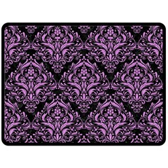 Damask1 Black Marble & Purple Colored Pencil (r) Fleece Blanket (large)