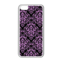 Damask1 Black Marble & Purple Colored Pencil (r) Apple Iphone 5c Seamless Case (white) by trendistuff