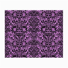 Damask2 Black Marble & Purple Colored Pencil Small Glasses Cloth