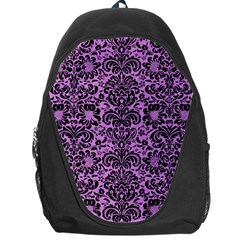 Damask2 Black Marble & Purple Colored Pencil Backpack Bag by trendistuff