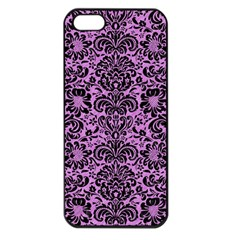 Damask2 Black Marble & Purple Colored Pencil Apple Iphone 5 Seamless Case (black) by trendistuff