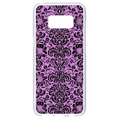 Damask2 Black Marble & Purple Colored Pencil Samsung Galaxy S8 White Seamless Case by trendistuff